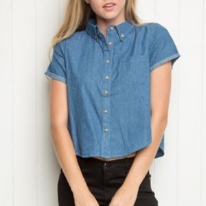 Brandy Melville Cropped Chambray Button Up Top